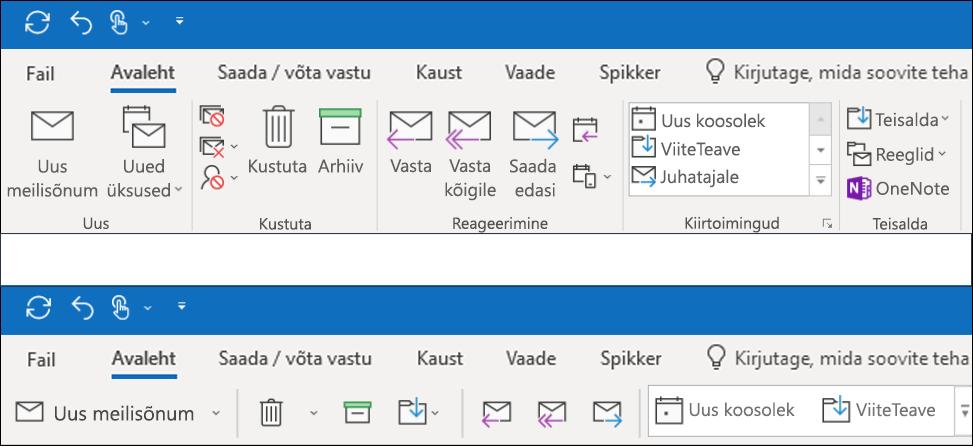 Nüüd saate kaks erinevat lindi kogemusi Outlookis.