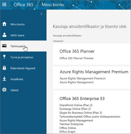 Office 365 tellimuste leht