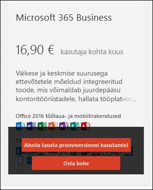 Kuval jäädvustada: Microsoft 365 tellimuse visiitkaart.