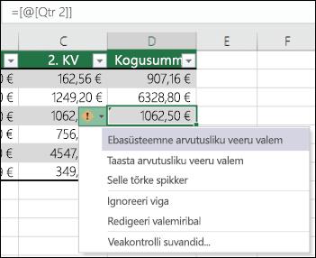 Ümbritsevaist erineva valemi veateade Exceli tabelis