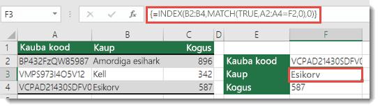 Kui kasutate funktsiooni INDEX ja MATCH ning otsinguväärtus on üle 255 tärgi, tuleb see sisestada massiivivalemina.  Lahtri F3 valem on =INDEX(B2:B4,MATCH(TRUE,A2:A4=F2,0),0) ja seda saab sisestada klahvikombinatsiooni Ctrl+Shift+Enter abil.