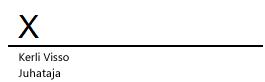 Allkirjarida Wordis koos sümboliga X, mis näitab kohta, kuhu allkiri tuleb kirjutada