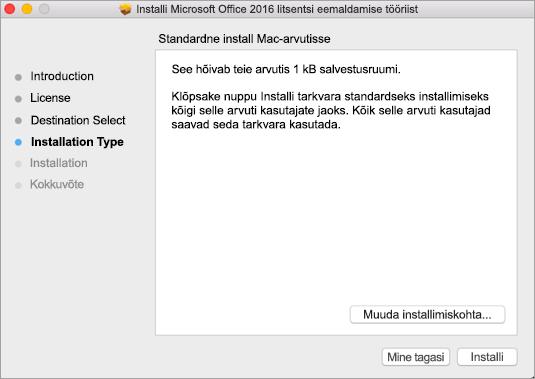Litsentside eemaldamiseks klõpsake tööriistal nuppu Install (Installi).