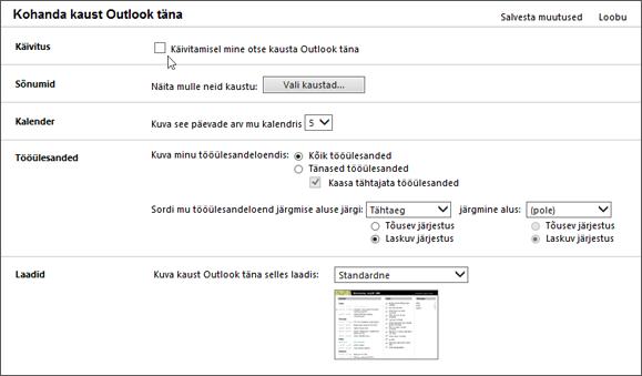 """Kuvatõmmis paanist kohandamine Outlook täna Outlookis kuvatud suvandid saadaval käivitamisel sõnumite, kalendri, tööülesannete ja laade. Kursor osutab ruut """"Käivitamisel, minge otse Outlook täna""""."""