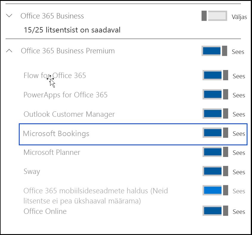 Kuvatõmmis, kus on näha Microsoft Bookingsi sätte väljalülitamine kasutaja tootelitsentside lehel.