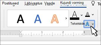 WordArt-objektide nupp teksti efektid