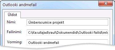 Dialoogiboks Outlooki andmefail