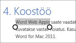 Teksti valimine puuterežiimis Office Online'is