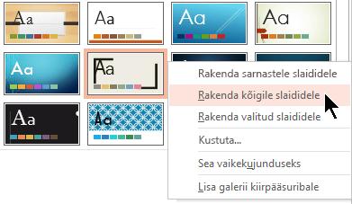 Rakenda slaididele Kõik slaidid