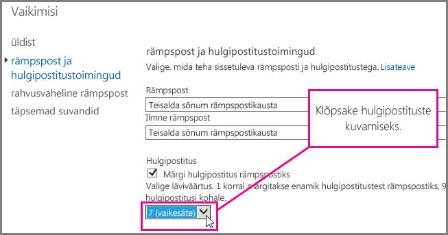 Hulgipostituste filtri häälestamine Exchange Online'is