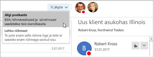 Rakenduses Outlook 2016 rühma päises nuppu tellimuse tühistamine