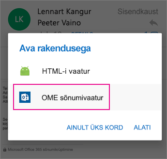 OME Sõnumivaatur Outlook for Android 2