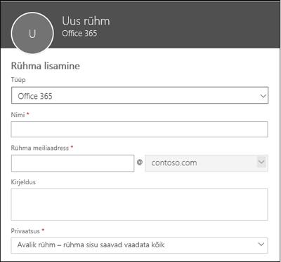 Uue Office 365 rühma, uue leviloendi või uue turberühma loomine