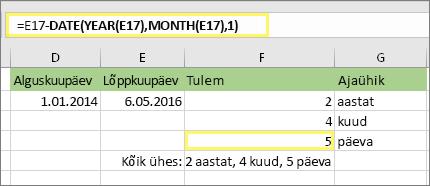 """=DATEDIF(D17,E17,""""md"""") ja tulem: 5"""