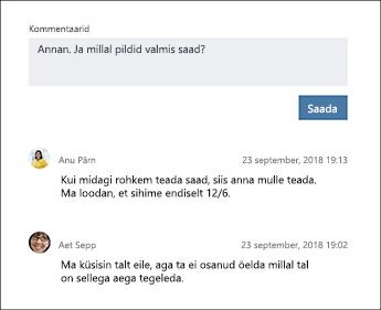 Ülesande kommentaarid