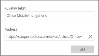 Kuvatõmmis OneNote for Windows 10 hüpertekstilingi lisamise dialoogist.