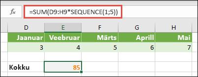 Kasutage valemites massiivikonstandid. Selles näites kasutasime funktsiooni =SUM(D9:H(*SEQUENCE(1;5))