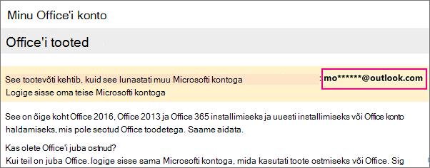 Minu Office'i konto leht, kus kuvatakse osaline Microsofti konto