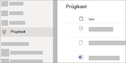 Kuvatõmmis saidil OneDrive.com olevast kaustast Prügikast.