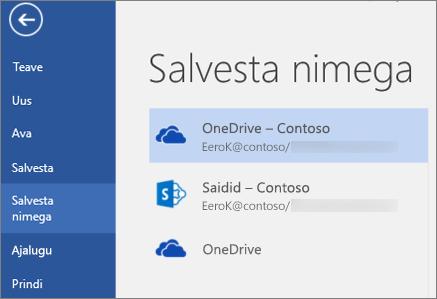 Wordi dokumendi salvestamine OneDrive for Businessi teeki