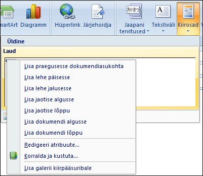 Outlook 2007 Redigeeri kiirosade osad