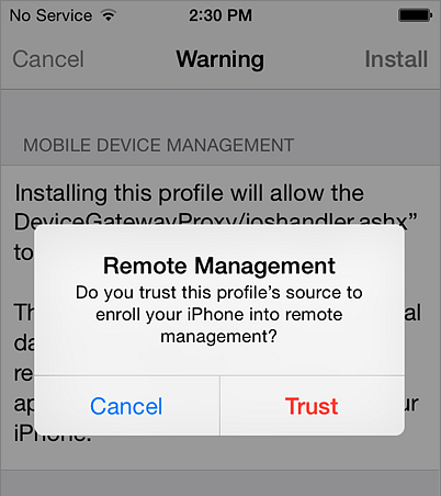 Trust remote management on iPhone