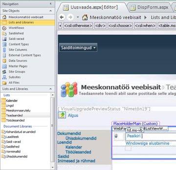 Rakenduses Microsoft SharePoint Designer 2010 vaate loomine