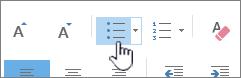 Outlooki täpp- ja numberloendi nupud