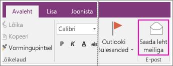 Kuvatõmmis OneNote 2016 nupust Saada leht meiliga.