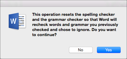 Põhjus, miks Word peab õigekirja ja grammatikat kontrollima, et käskisid Wordil ignoreerida, klõpsake nuppu Jah.
