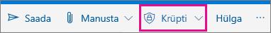 Outlook.com-i lindi Krüpti nupp on esile tõstetud