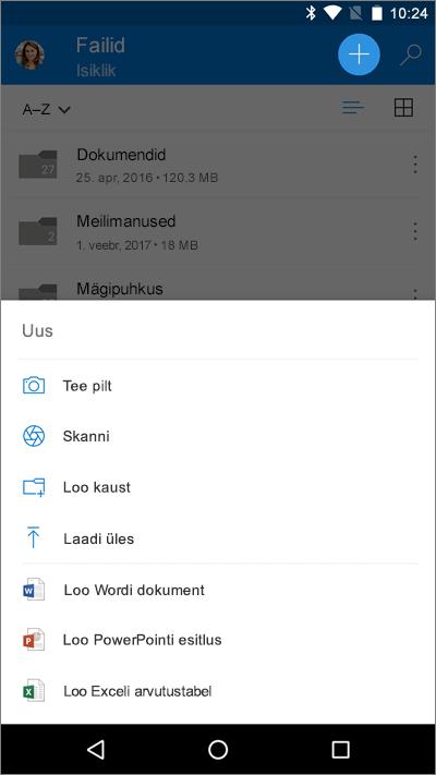 Kuvatõmmis iOS-i seadmesse installitud Wordi versioonis avatud aknast Failid, kus on kuvatud menüü Lisa.