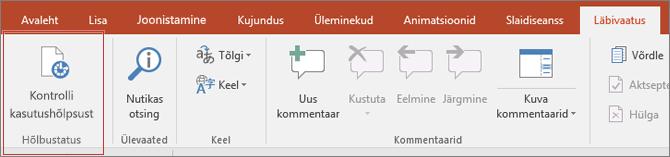 Kuva lõikepilt Wordi kasutajaliidese nähtaval läbivaatus > kontrolli hõlbustusfunktsioone, mille ümber punane kast.