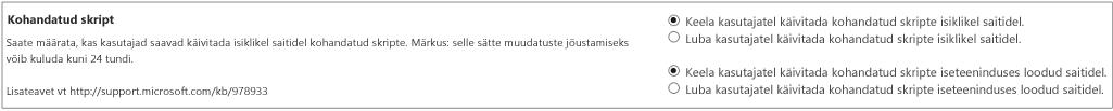 SharePointi halduskeskuse jaotis Custom script (Kohandatud skriptid)
