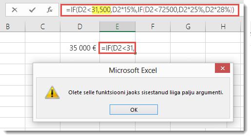 Exceli teade koma lisamisel väärtusele