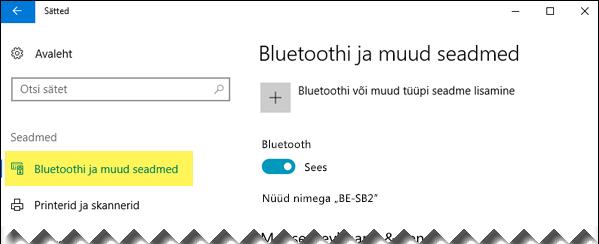 Veenduge, et vasakul on valitud Bluetoothi ja muude seadmete võimalus.