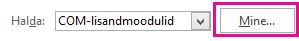 """Lisandmoodulite dialoogiboksi avamiseks klõpsake nuppu """"Mine""""."""