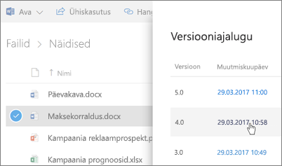 Kuvatõmmis OneDrive for Businessi  faili versiooniajaloost üksikasjapaanil