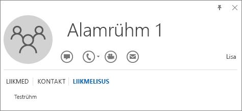 """Kuvatõmmis Outlooki rühma """"Alamrühm 1"""" kontaktikaardi vahekaardist """"Liikmesus"""", kus on näha, et """"Alamrühm 1"""" on rühma """"Testrühm"""" liige."""