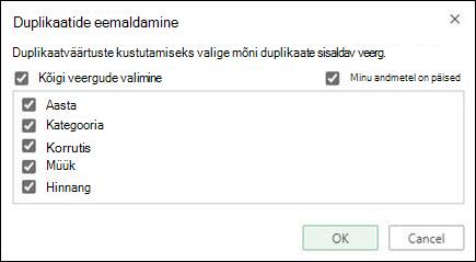 Eemaldage Excel Online'is duplikaadid > andmeriistadest > Eemalda duplikaadid.
