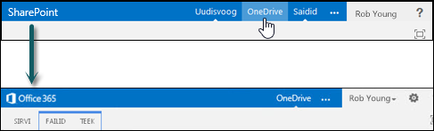 Valige OneDrive SharePointi avamiseks OneDrive for Business, Office 365