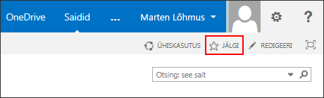 Saate jälgida SharePoint Online'i saiti ja lisada lingi Office 365 saitide lehele.