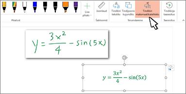 Käsitsi kirjutatud võrrand ning sama võrrand, mis on teisendatud vormindatud tekstiks ja numbriteks
