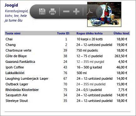 Tootekataloogi manustatud PDF-fail kuvatuna rakenduses Adobe PDF Reader