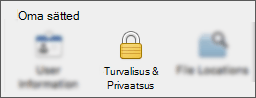 Turvalisus & Privaatsus nupp rakenduse eelistuste dialoogiboksis.