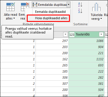 Power Query – duplikaatide säilitamine