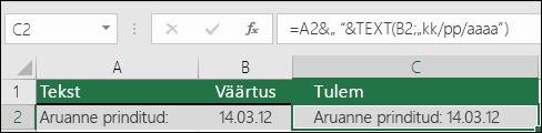 Näide teksti ühendamisest funktsiooniga TEXT
