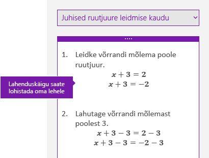 Lahendamisjuhised tööpaanil Matemaatika