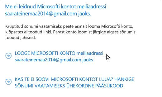 Microsofti konto loomine