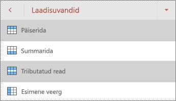 Tabeli päise rea laadide menüü rakenduses PowerPoint for Android.
